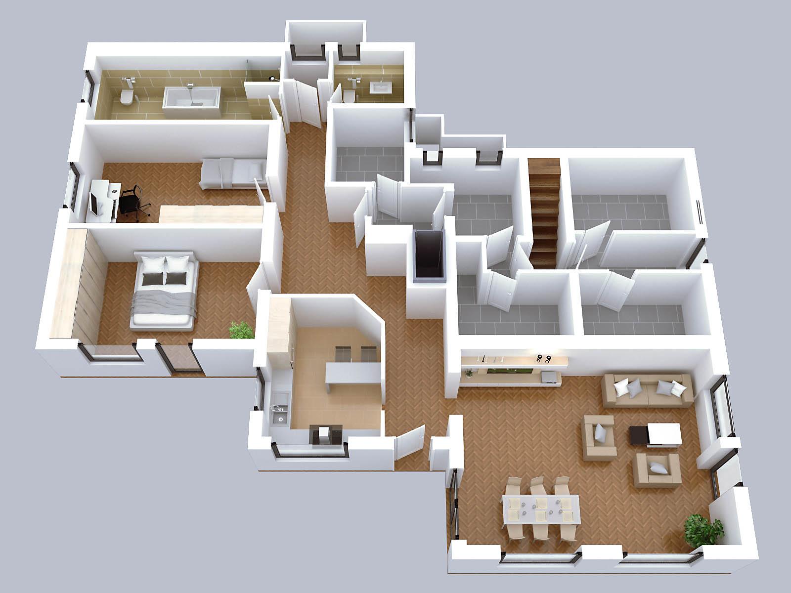 Einfamilienhaus grundriss 3d  Zeichenservice24 | 3D-Grundrisse